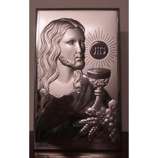 OBRAZEK SREBRNY PAMIĄTKA PIERWSZEJ KOMUNII ŚWIĘTEJ – JEZUS Z KIELICHEM